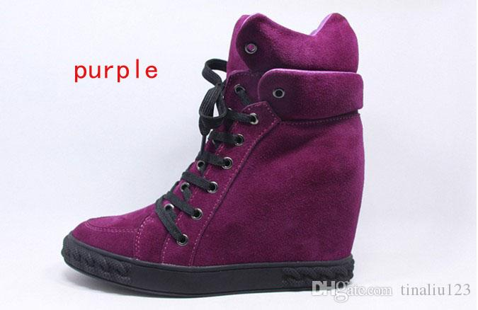 Automne 2017 hiver nouvelles femmes de mode véritables chaussures de sport en cuir daim augmentant hauteur haut-dessus des femmes lacées coincent chaussures casual chaussures de sport