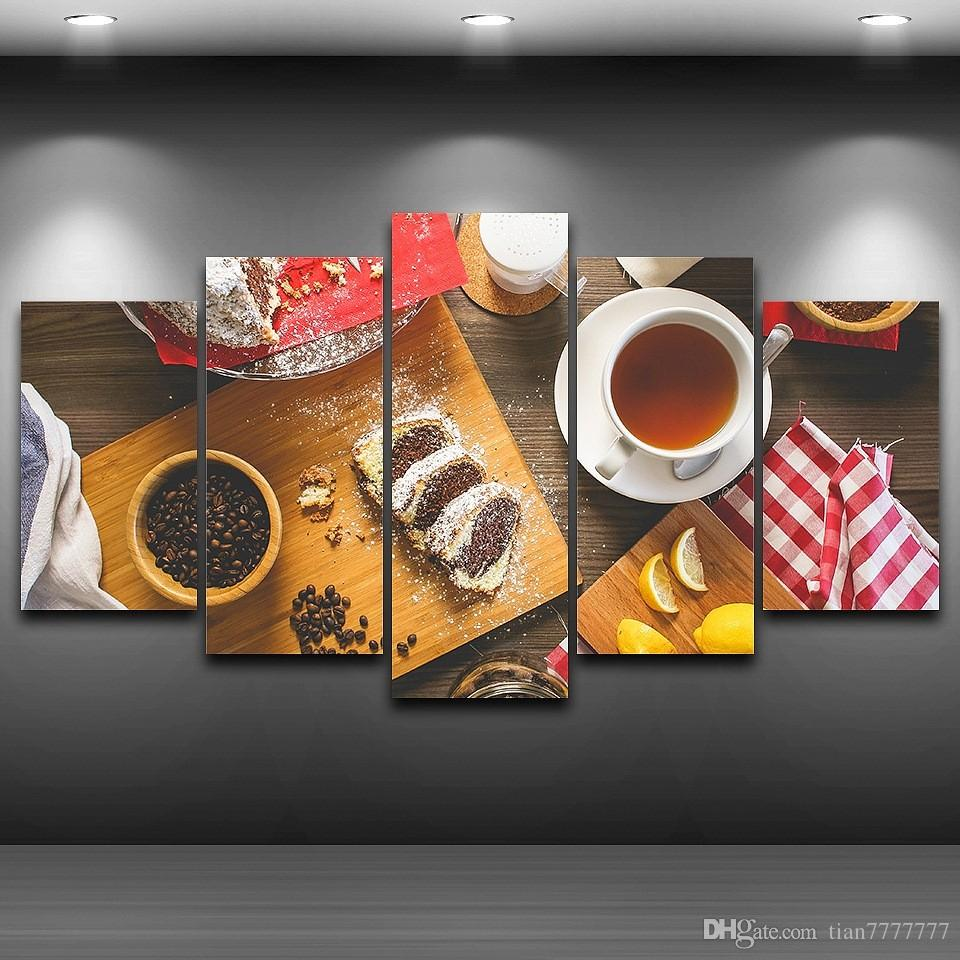 Restaurant Kitchen Wall Panels 2017 5 panel unframed coffee food wall canvas paintings hd print