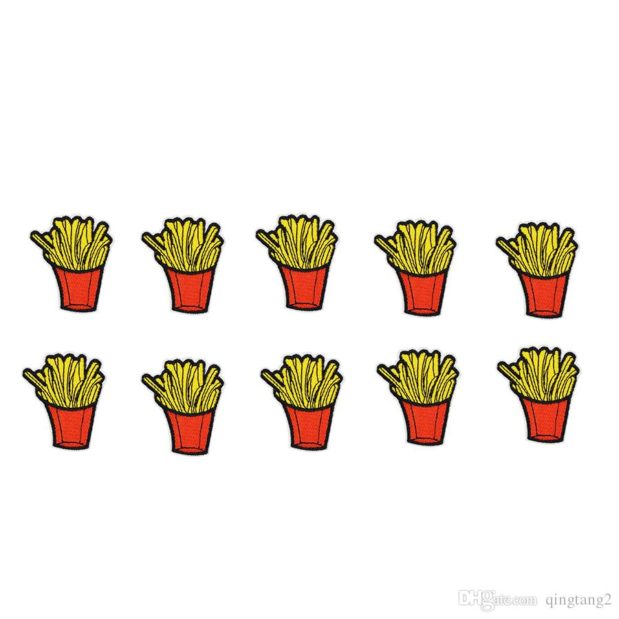 10PCS fries embroidery badge patches for clothing iron patch for clothes applique sewing accessories stickers on clothes iron on patches DIY