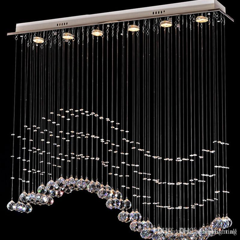2017 Contemporary 6 Light Crystal Wave Chandelier Modern Style ...