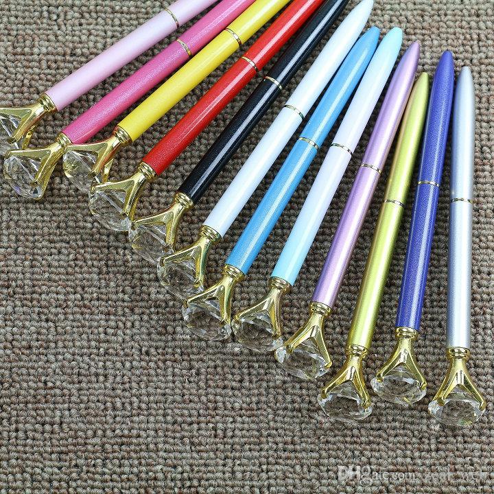 DHL SOLAMENTE 19 quilates Diamantes de gran tamaño Bolígrafos Bolígrafos de cristal Escuela Oficina Suministros de escritura Firma pluma logotipo personalizado