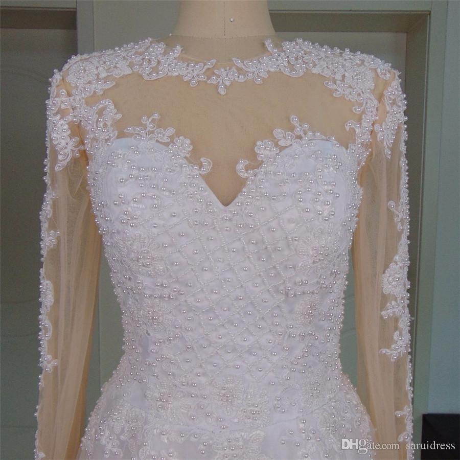 보석 목 2 in 1 낭만적 인 웨딩 드레스 진주 긴 소매 웨딩 드레스 섹시한 섹시한 보충 뒷면 중국 신부 가운