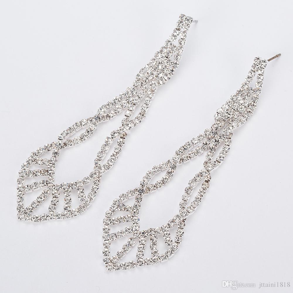 YFJEWE Köpüklü Kristal Akşam Parti Küpe Düğün Gelin Uzun Dangle Avize Drop Küpeler Takı E402