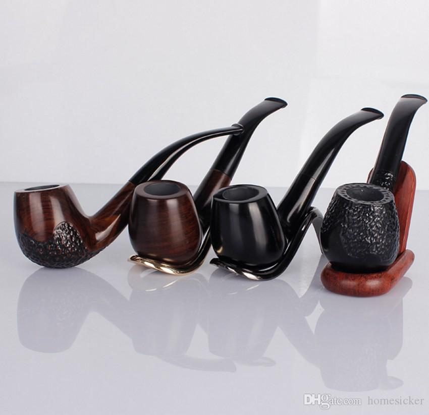 Ebony Wood Smoking Pipe Handmade Black Tobacco Pipe 9mm Filter Wooden cigarette pipe