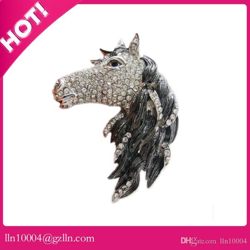/ livraison gratuite en alliage de zinc vente chaude de haute qualité 55mm cheveux noirs cheval en strass tête de cheval broche