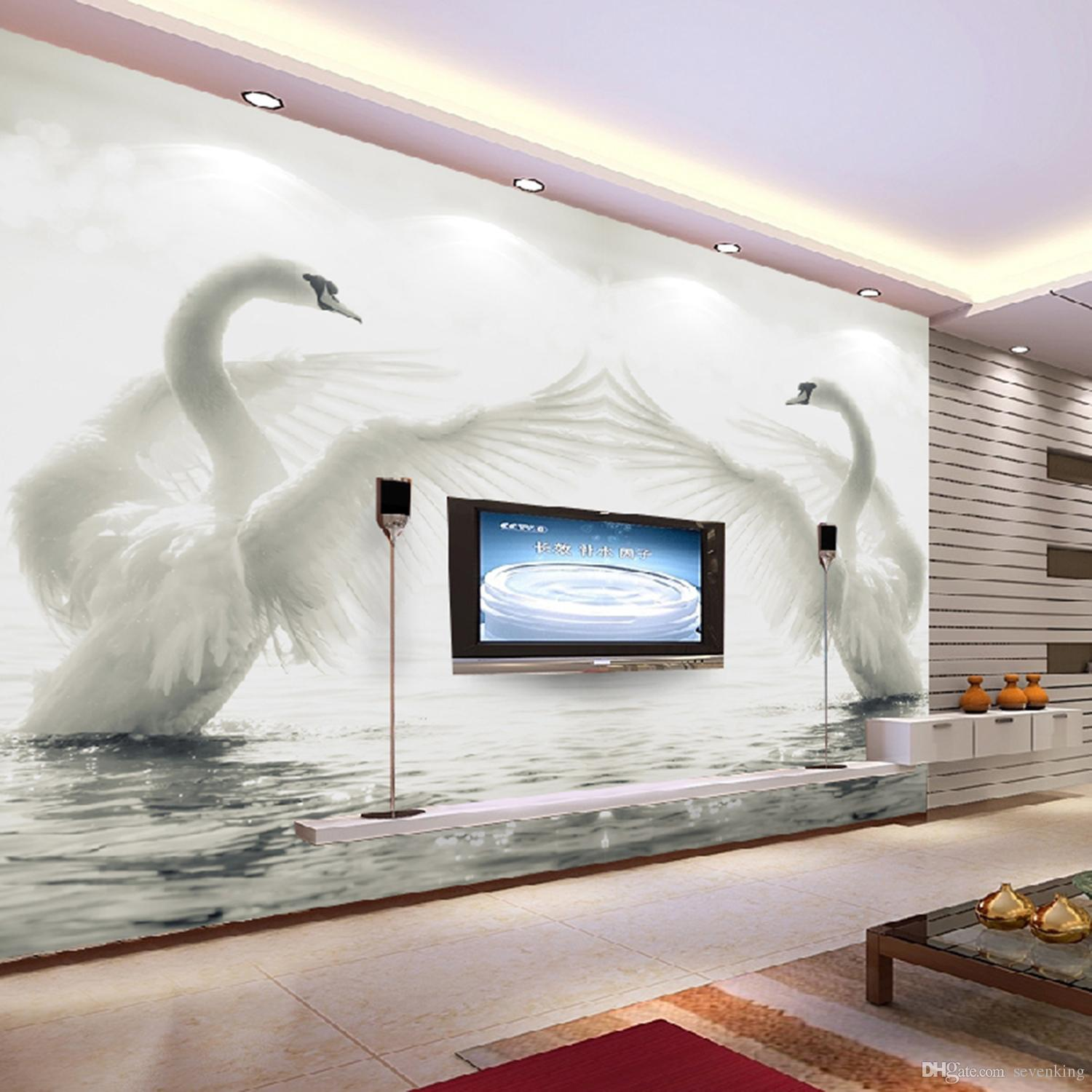 custom 3d mural wallpapertwo beautiful and white swans spread