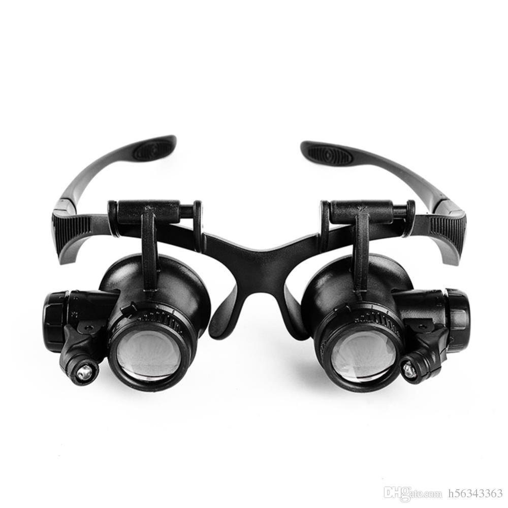 74d21a05f6 Compre 1x Tipo De Gafas Lupa 10X 15X 20X 25X Joyería Ocular Reparación De  Relojes Gafas De Lupa Con 2 Luces LED Nuevo Microscopio De Lupa A $8.65 Del  ...