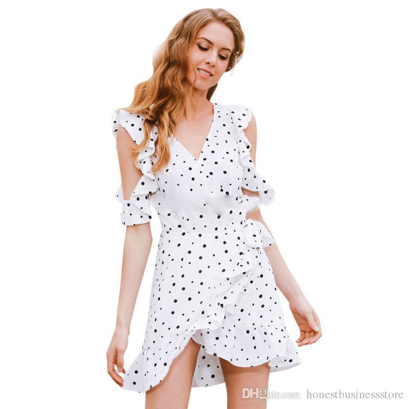 Top Fashion Casual Dresses 2017 Spring Summer New Arrival Women's Chiffon Black&white Polka Dots V-neck Beach Vocation Short Dress