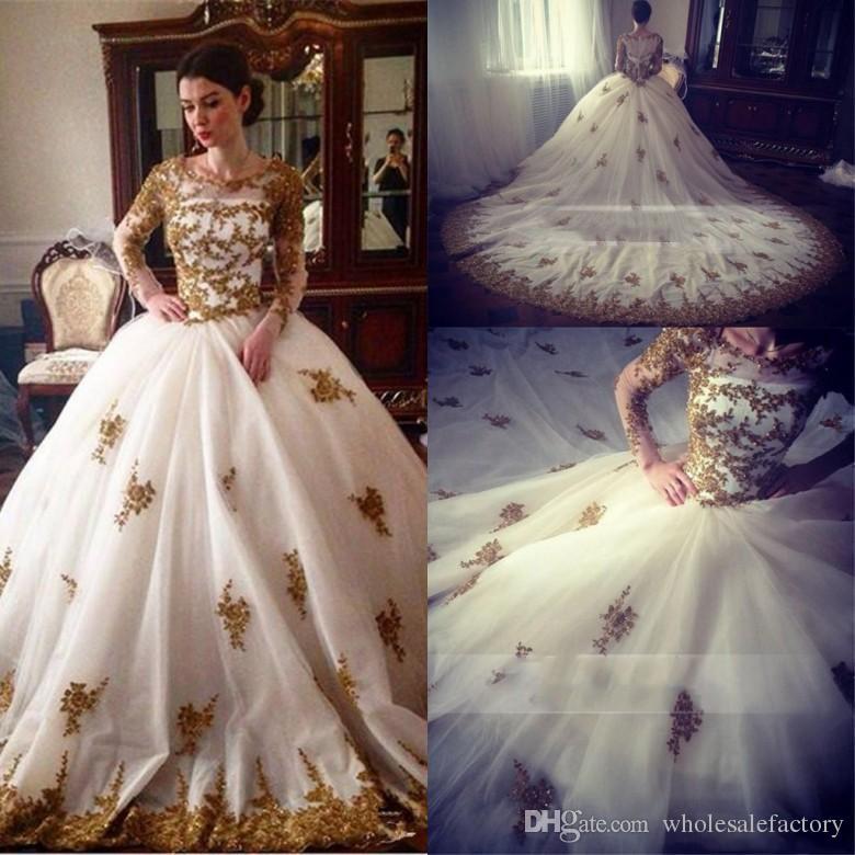 compre vestido de princesa ball blanco con apliques de oro vestidos