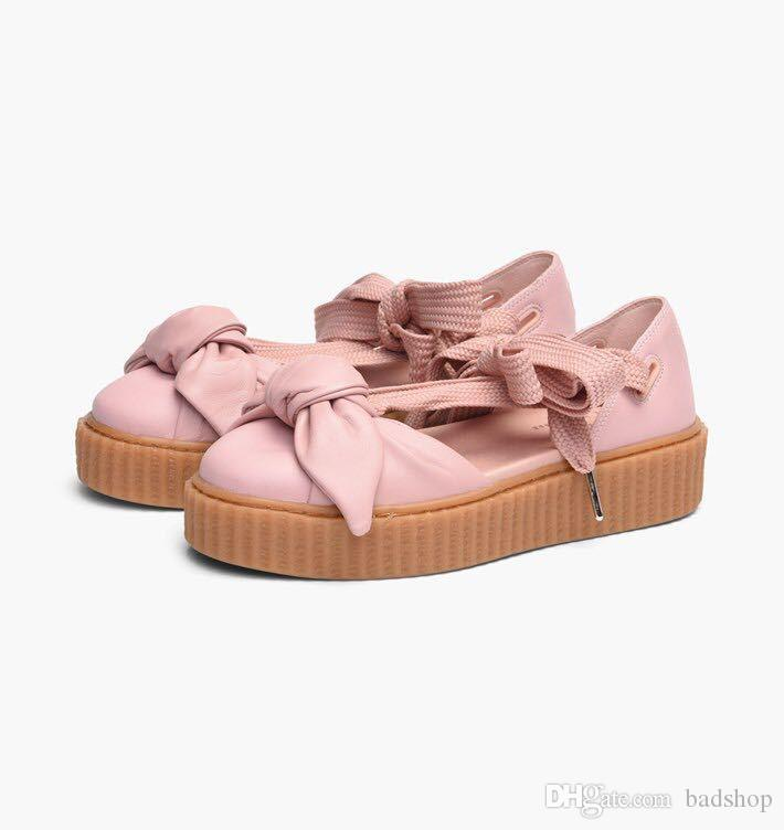 New style X Fenty Women sandals size 36-40 summer bowtie slippers slides pink brown beige color sports shoes free shipping low shipping fee EqTiL45N