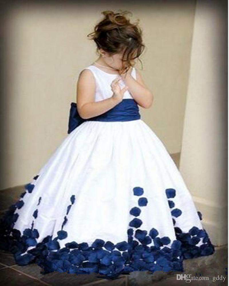 Vestidos de meninas de flor para casamentos Pretty Formal Meninas Vestidos de cetim bonito Puffy Tulle Pageant Vestido Primavera