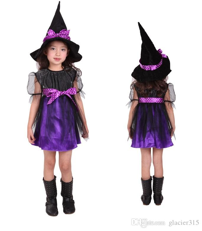 2020 Shanghai Story Cute Kids Halloween Purple Costume Girl Children Suit Orange Witch Costumes Clothes From Glacier315 16 08 Dhgate Com