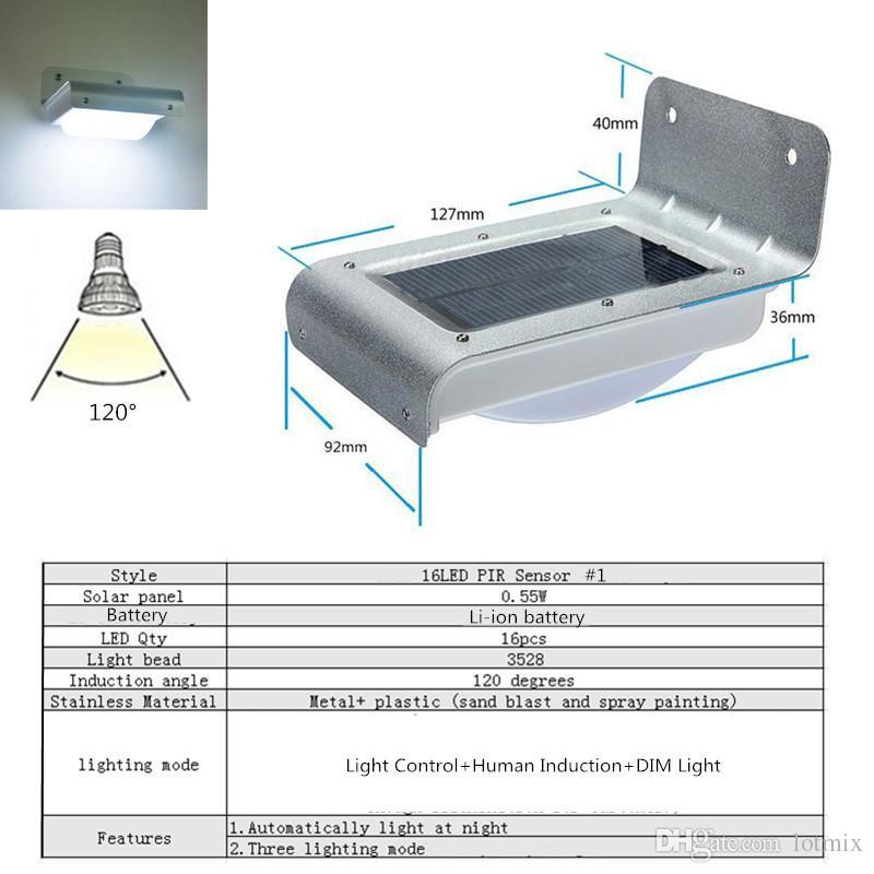 3528 SMD 16 LED Solar Light Outdoor LED Garden Light Waterproof Solar Power PIR Motion Sensor Security Light Fence Wall Lamp