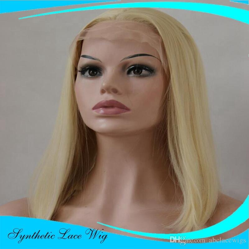 Fashion Short Bob White Blonde Lace Front Wigs Heat Resistant Synthetic Lace Front Wigs Highlight Wigs 14 inch