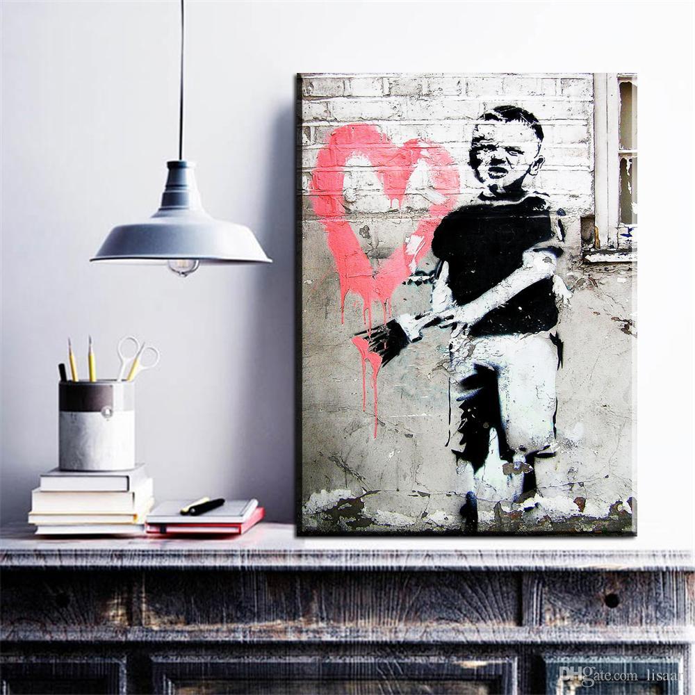 ZZ19 Graffiti Leinwand Drucke Kunst kleiner Junge Bürsten Herz Design Banksy Leinwand Bilder Ölgemälde für Wohnzimmer Dekor