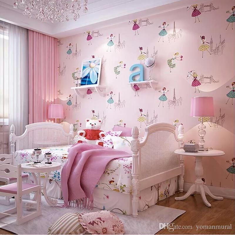 Cartoon Ballet Princess Non-woven Wall Paper For Kids Sweet Girls ...