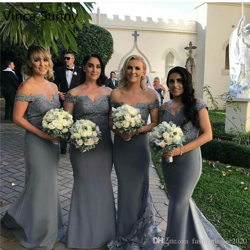 592163c8f6bff 2019 Grey Silver Off The Shoulder Mermaid Bridesmaid Dresses Long Appliques Lace  Maid Of Honor Dress Cheap Wedding Guest Dress Party Gowns Guest Wedding ...