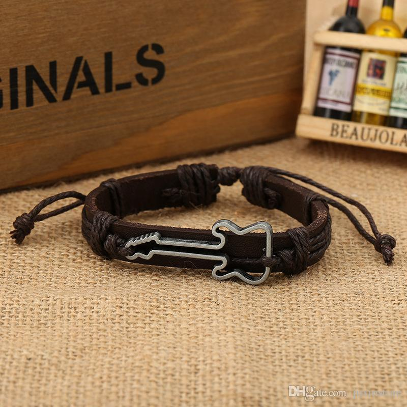 Hot Sale Promotion Price Handmade Fashion Guitar Charm Couple Bracelet Leather For Men/Women