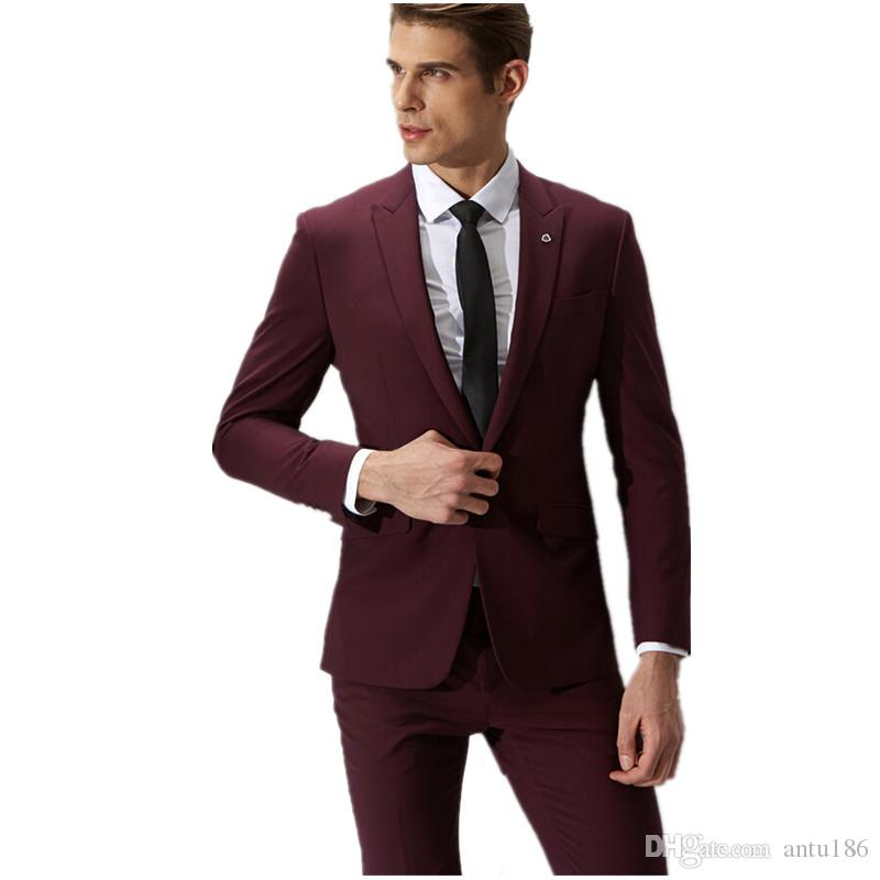 2018 Red Wine Groom Suit Men'S Formal Fashion Hot Sale One Button ...