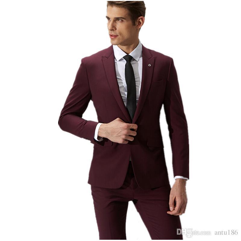e9555337ae49fb Compre Vino Tinto Traje De Los Hombres De La Moda Formal Venta Caliente Un  Botón Trajes Slim Fit Hombres Trajes De Boda Trajes De Etiqueta Chaqueta +  ...