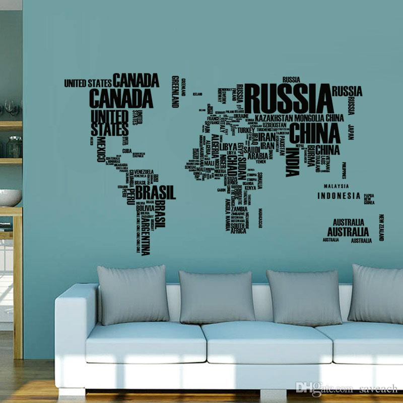 colorful English Words creative world map home decal wall sticker for study room office classroom decoration stickers mural art
