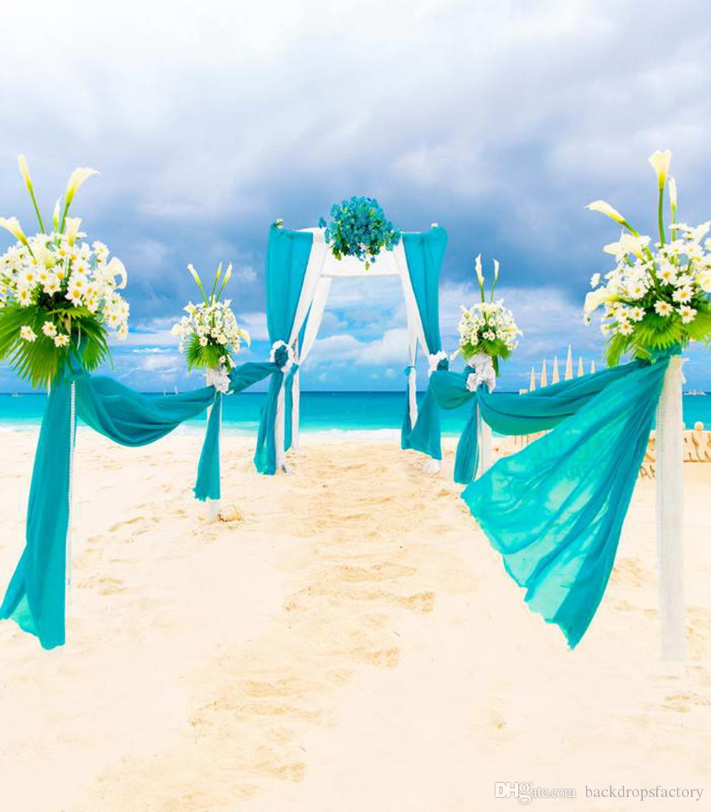 2018 Romantic Summer Beach Wedding Background Photo Studio Blue Sky Sea Valance Flowers Arch Outdoor Scenic Photography Backdrop 8x10ft From