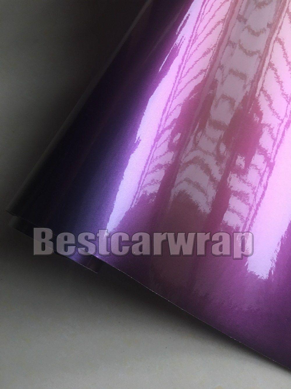 Lucentezza del Camaleonte viola lucido Lucentezza Avvolgere in vinile Con bolle d'aria Rivestimento veicolo libero Flip Flop Dimensioni foglio: 1.52 * 20M / rotolo 5x67ft