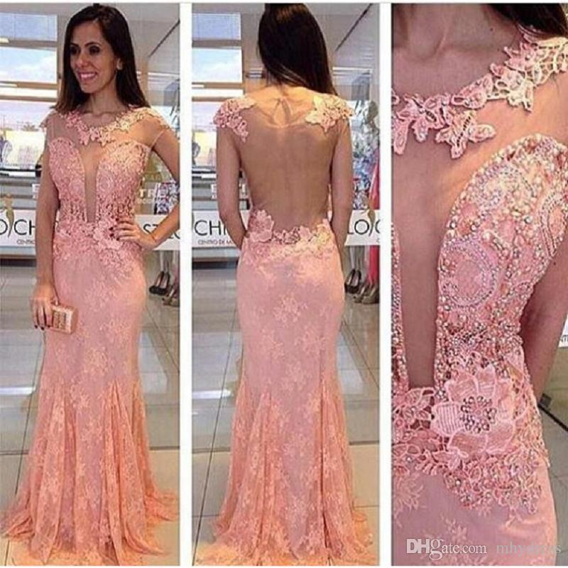 Blush Pink Lace Prom Dresses Mermaid Style Long 2017 Sexy Sheer