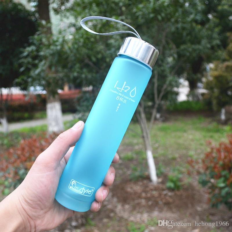 Translucent Water Bottles With Rope Single Layer Plastic Cups For Student Sport Tumbler Portable Hot Sale 15 5sp E R