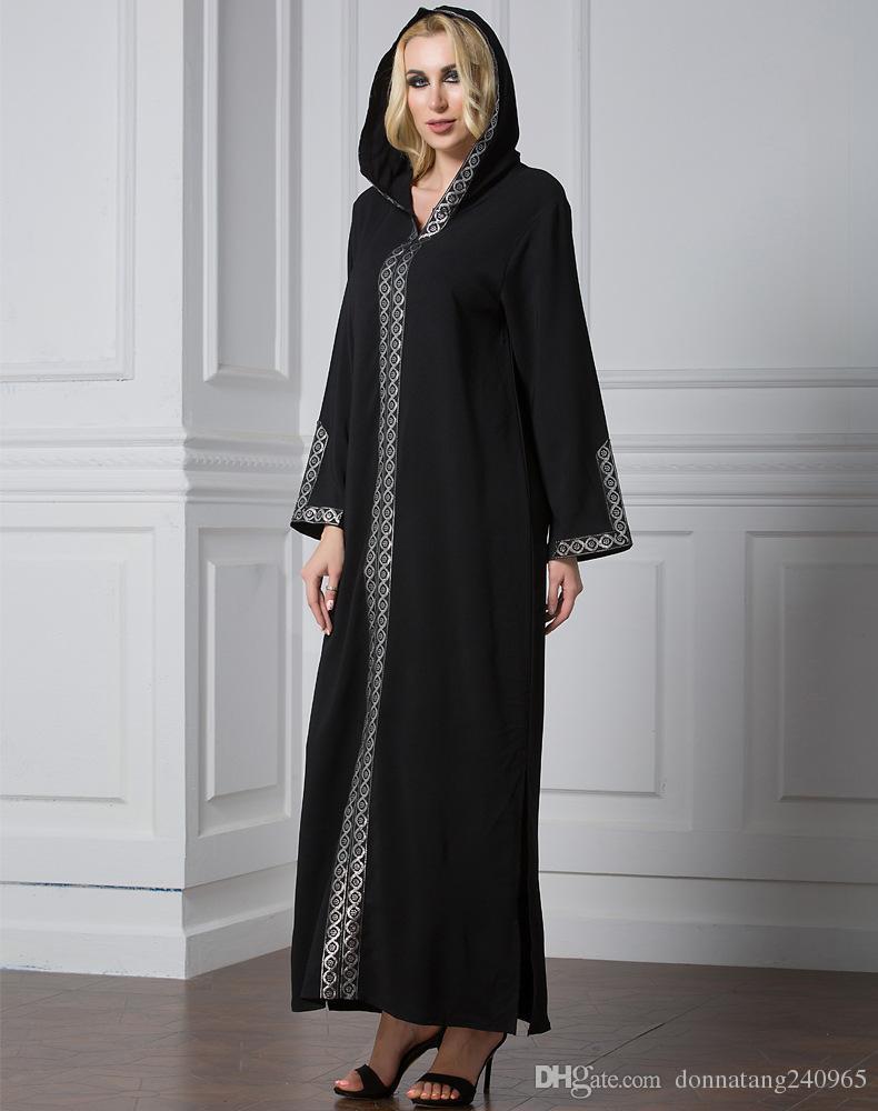 bba3ab7bc8 2019 2017 Islamic Jilbabs Women Side Split Dress Maxi Kurkish Robe Chiffon  Moroccan Kaftan Ramadan Dubai Arab Fashion Ethnic Hooded Robes From ...