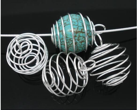 Cages de perles en spirale argentées Cages Charmnes Pendentifs Constatations 9x13mm Bijoux Fabrication DIY