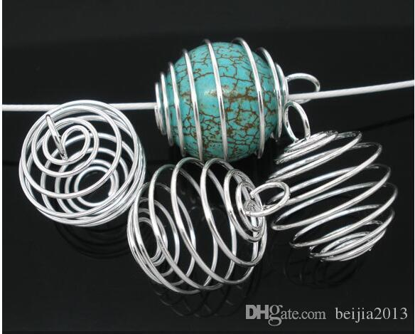 Silver pläterade spiralpärla burar charms pendants fynd 9x13mm smycken gör DIY