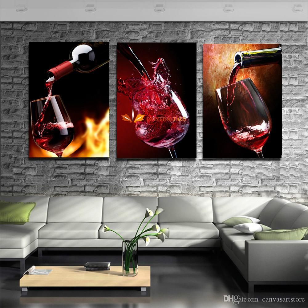 3 Stück Moderne Küche Leinwand Gemälde Rotwein Tasse Flasche Wandkunst  Ölgemälde Set Bar Esszimmer Dekor Bilder Kein Rahmen