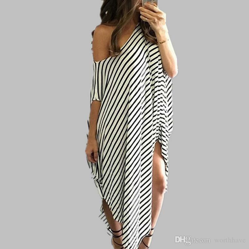 20586d1d31a Acheter 2017 Mode Automne Robe Pas Cher Grande Manches À Rayures Longues Robes  Coton Dames Robes Décontractées Shippng Gratuit De  2.92 Du Worthhave ...