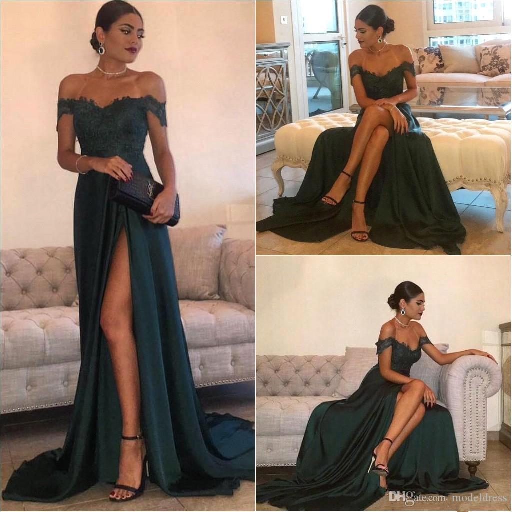 Robe vert foncé fendus robes 2019 Off-the-épaule dentelle Top longueur de plancher en mousseline de soie longue côté haute arabe robe de soirée pas cher robe de bal