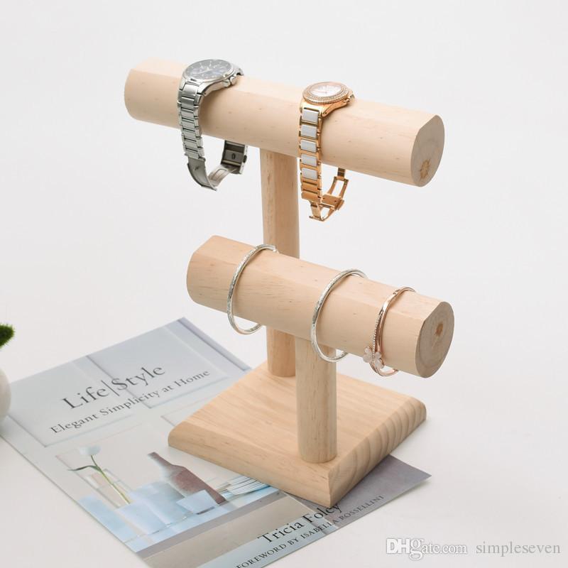 [Simple Seven] Muji Style Braccialetto da gioielli titolare Braccialetto di legno naturale Stand Craftshow T Shape Orologio display Shopwindow Collana Vassoio