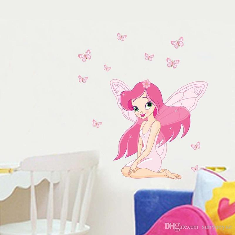 Cartoon Cute Fairy Wall Stickers For Kids Bedroom Wall Decals Children Gift  Mural Pretty Girl Waterproof Posters Wall Decals Sale Wall Decals Sayings  From ...