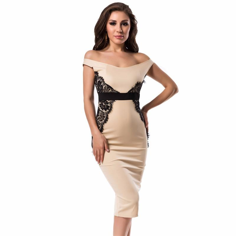 2017 Fashion Style Low Neck Sleeveless Work Dress Beige With Lace ...