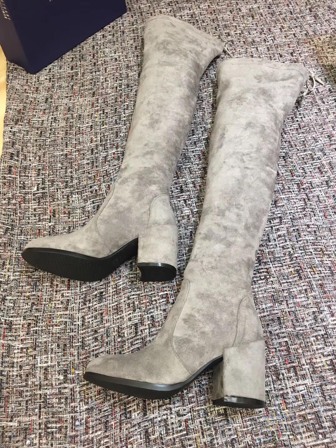 095f83b143fd The Tieland Top Original Quality SW Brand Boots Over The Knee Block Heel  Suede Leather Slim Boots Elstic Pull On Women Thigh High Boots Black Boots  For ...