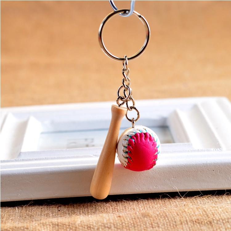 Glove Baseball Bat PU Leather Baseball 4 Styles Keyring Promotion Sports Mini Softball Cartoon Key Chain White Green Blue Pink F934E
