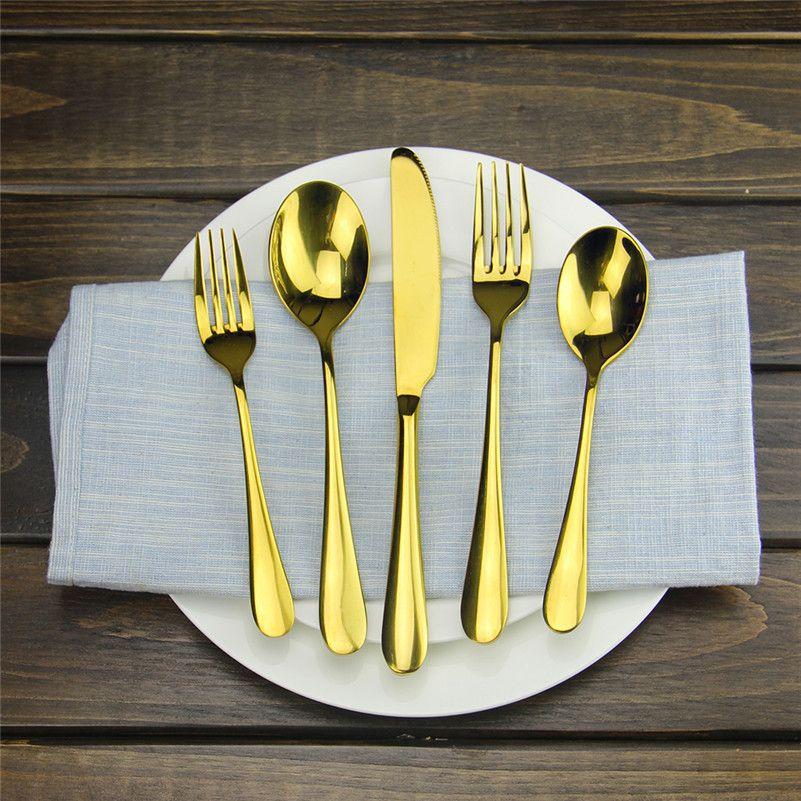 Gold Flatware Set Luxury Rose Gold Cutlery Set Stainless Steel Dinner Spoon Knife Fork Tableware For Home Kitchen Restaurant White Porcelain Dinnerware Sets ... & Gold Flatware Set Luxury Rose Gold Cutlery Set Stainless Steel ...