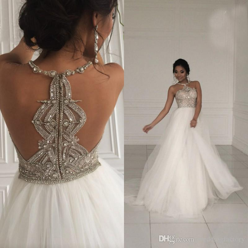 2017 sparkly a line wedding dress sexy beaded crystals jewel neck see larger image junglespirit Choice Image