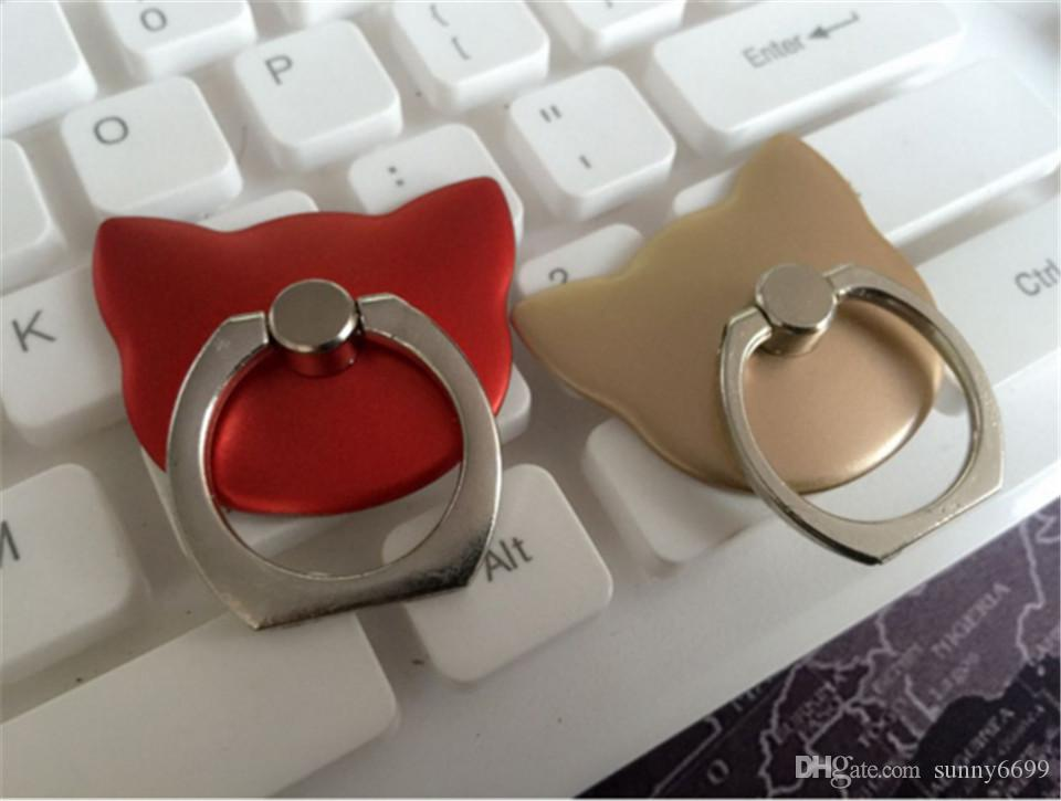 Metal ring cartoon cat head ring buckle bracket mobile phone desktop stent lazy stent