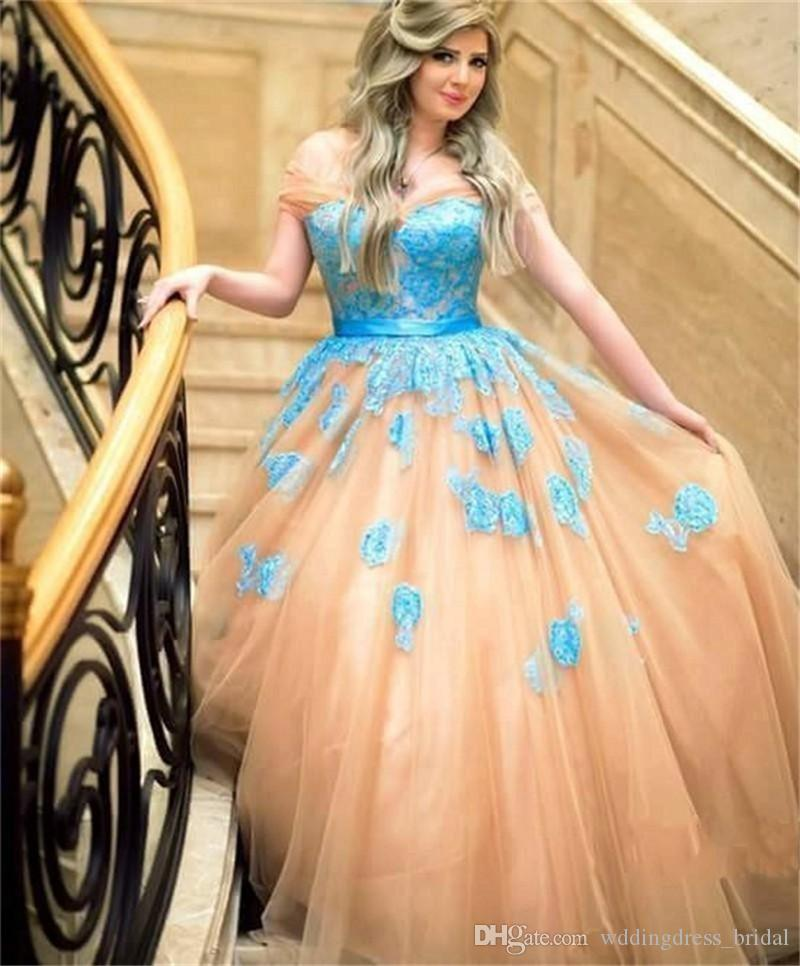 Womens Evening Gowns Vestido Longo De Renda 2019 Off the Shoulders Appliques Ball Gown Evening Prom Dresses Custom Made