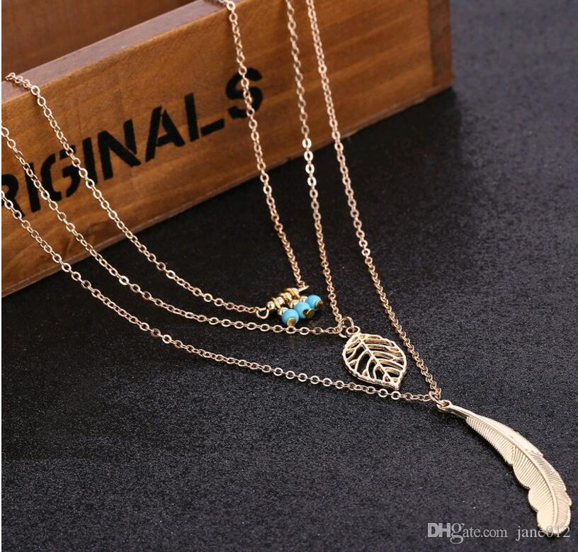 Cheap Multilayer Metal Leaf Beads Beaded Feather Pendant Necklace Concise Europe Women Necklace Fashion Jewelry Wholesale