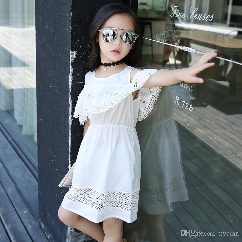 Kids Baby Summer Clothes Girls Flower Lace Dress Cotton Cold Off Shoulder Ruffles Dress For Girls Princess Party Dresses Clothing White Pink
