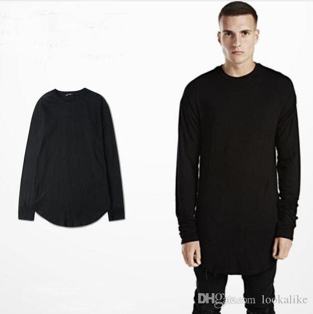 Fashion Mens Undershirt Long Sleeve Circle Bottom Plain Black T ...