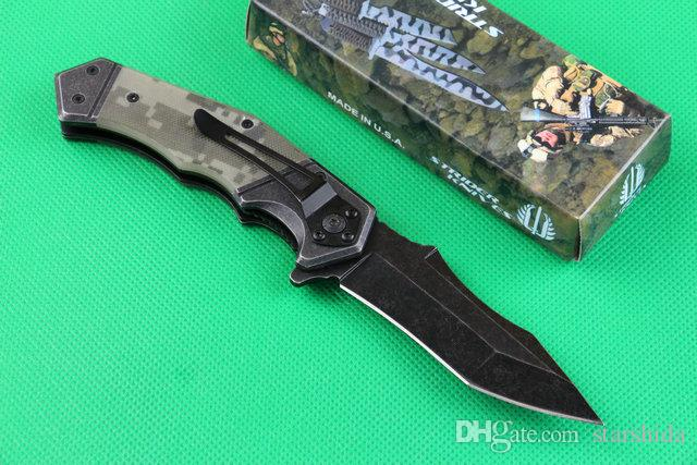 Strider MICK 352 Stonewashed Tactical Folding Knife 440C 57HRC G10 Handle Camping Hunting Survival Pocket Knife Military EDC Tools