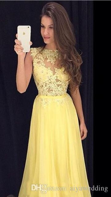 Prom Dresses Long Yellow Lace 2019 Sheer High Neck Illusion Top Abiti da sera sexy Chiffon Formale Fancy Occasioni speciali Abiti