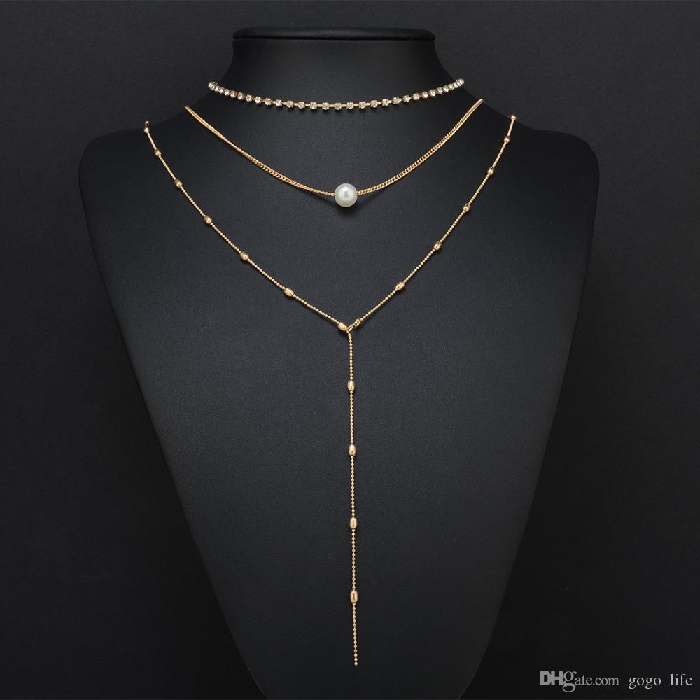 or strass collier 3 couches chaîne martelé disque long bar couche collier chaîne de la clavicule pour les femmes livraison gratuite